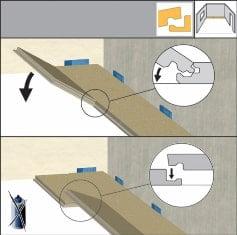 Fixați placă cu placă prin introducerea fiecăreia la un unghi de aproximativ 25 grade în cantul primului rând și lăsăți în jos pentru fixare. Nu mai este nevoie de adeziv.