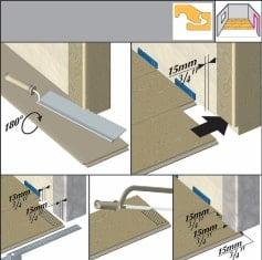 Pentru montarea în zona ușilor se vor folosi distanțiere de minim 15mm.
