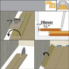 Pentru a măsură exact lățimea ultimului rând așezați o placă peste ultimul rând montat, poziționată identic cu aceasta. Așezați o placă peste ele, pe care o apropiați de perete și apoi trasați după această linia de tăiere.