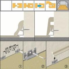 Prima dată instalați clema pentru plintă în perete iar apoi prin apăsare fixați plinta de aceasta. Clemele de plintă se montează la 50 cm distanță una față de cealaltă.