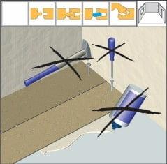Montarea primului rând: așezați plăcile în linie dreaptă punând pe capetele acestora adeziv pentru fixare. Așezați o greutate peste plăci până la uscarea adezivului.