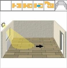 Montarea parchetului se face pe lungimea direcției de incidență a principalei surse de lumina naturală din camera.